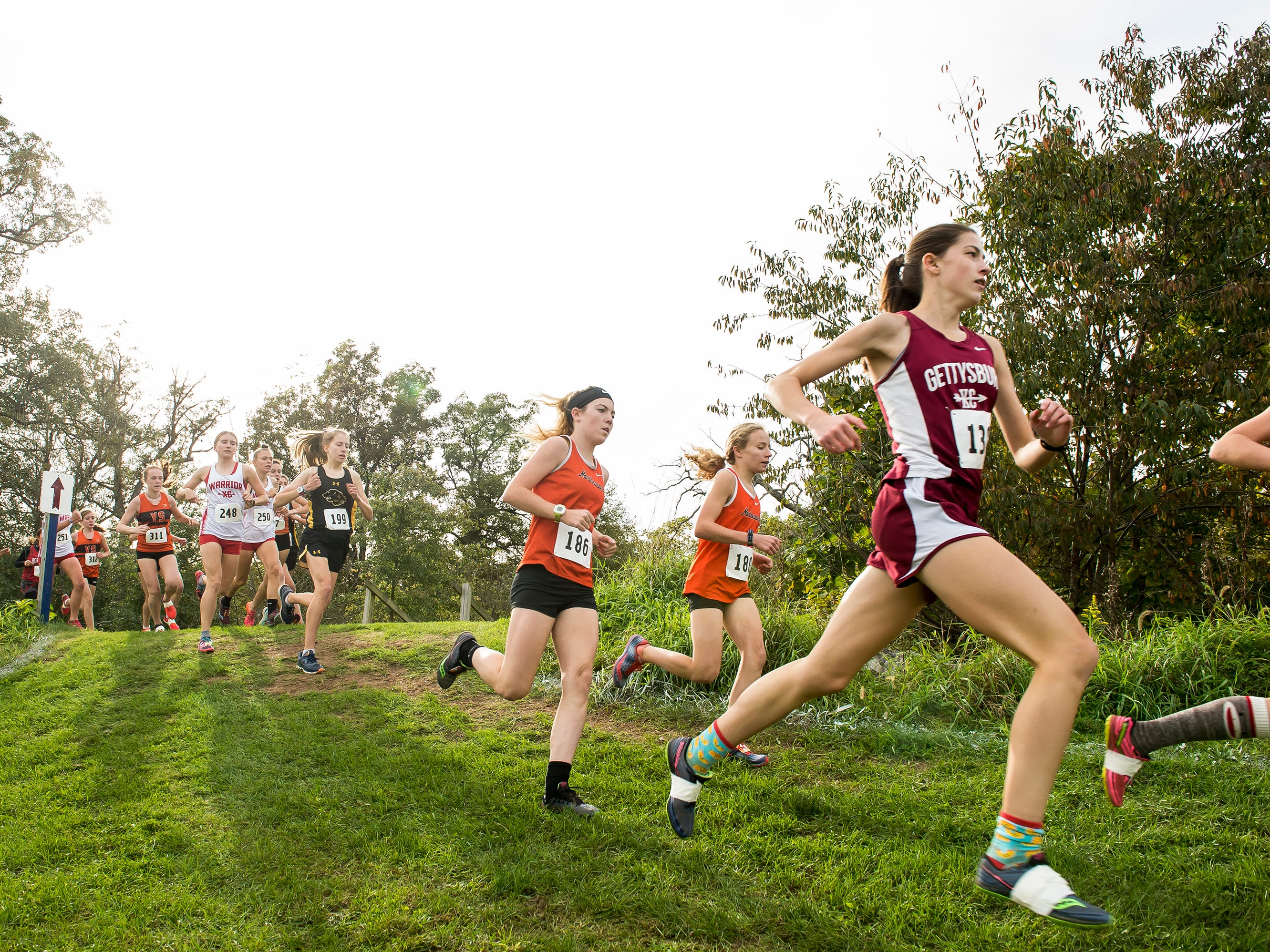 Runners compete in the YAIAA cross country championships at Gettysburg Area High School Tuesday, October 16, 2018.