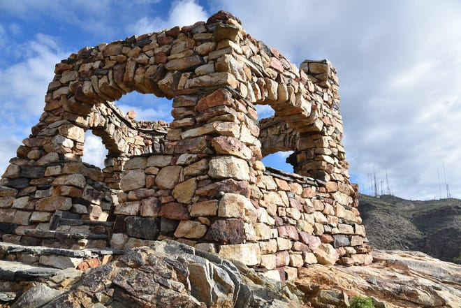 The Telegraph Pass lookout tower on the National Trail in South Mountain Park.