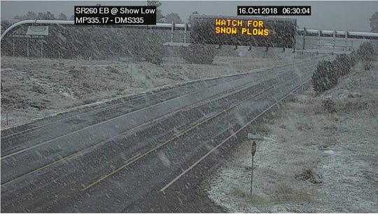 Wet snow falling on State Route 260 at Show Low on Oct. 16, 2018.