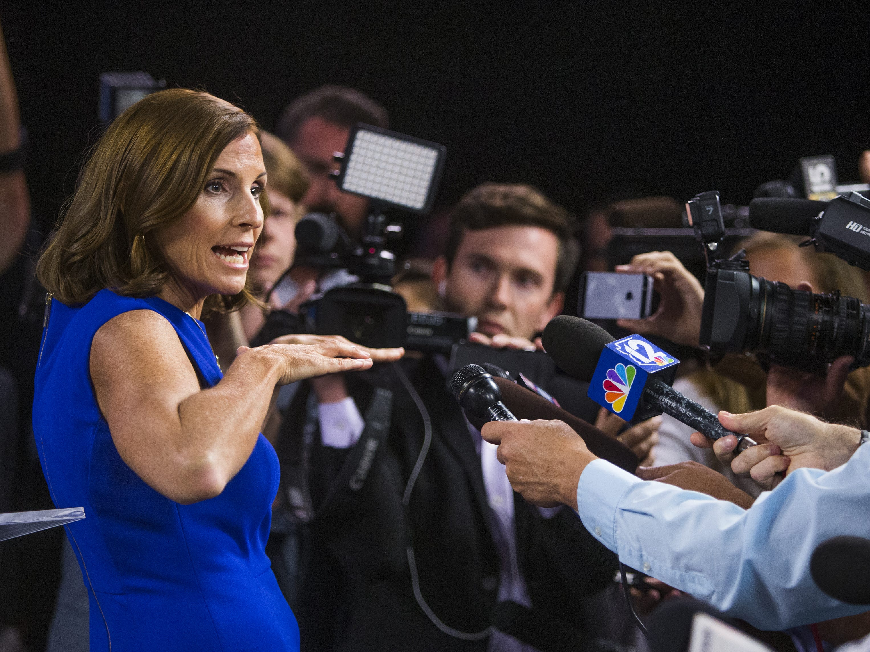 Rep. Martha McSally takes questions from the press after debating Rep. Kyrsten Sinema in the Arizona PBS studios at the Walter Cronkite School of Journalism and Mass Communication at Arizona State University in Phoenix, Monday, October 15, 2018. One of the two will become the first woman to represent Arizona in the United States Senate.