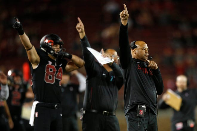 Stanford Cardinal head coach David Shaw calls a play against the Utah Utes in the third quarter at Stanford Stadium. Stanford faces ASU on Thursday.