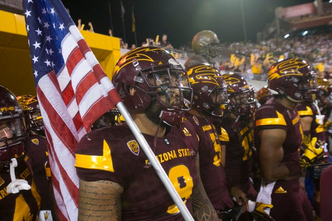 ASU wore its all-maroon uniforms in 2017 for the game against Oregon on Sept. 23, 2017.