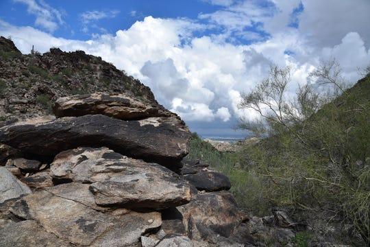 "Dark rock veneers on ""Greasy Mountain"" in South Mountain Park."