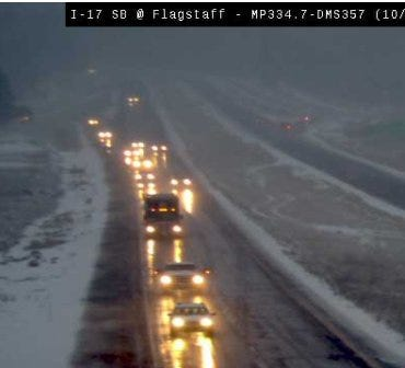 Wet snow and rain fell Tuesday morning on I-17 in Flagstaff, according to the Arizona Department of Transportation.