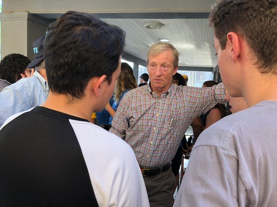 Tom Steyer, the California billionaire founder of NextGen America, speaks to young people at an event in Tempe on Aug. 17.