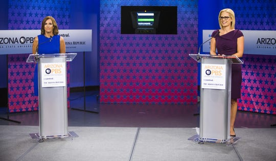 Martha McSally (left) and Kyrsten Sinema debated on Arizona PBS in October. But Green Party candidate Angela Green wasn't invited.