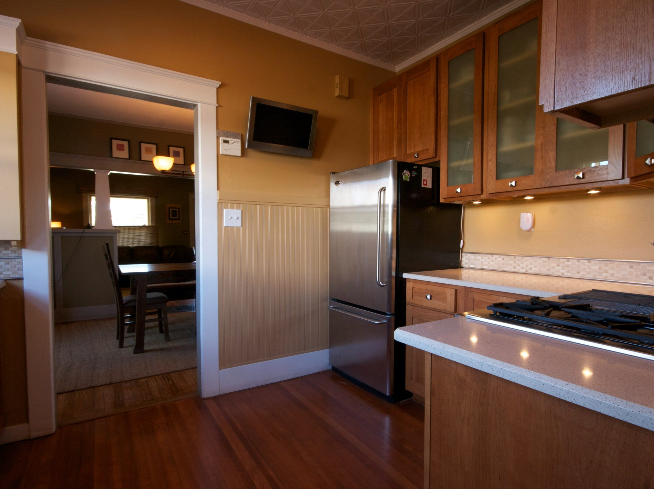 Part of the kitchen remodel included making space for a wall-mounted television.