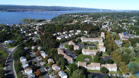 Drone aerial view of housing in Beacon, near the Hudson River Oct. 16, 2018.