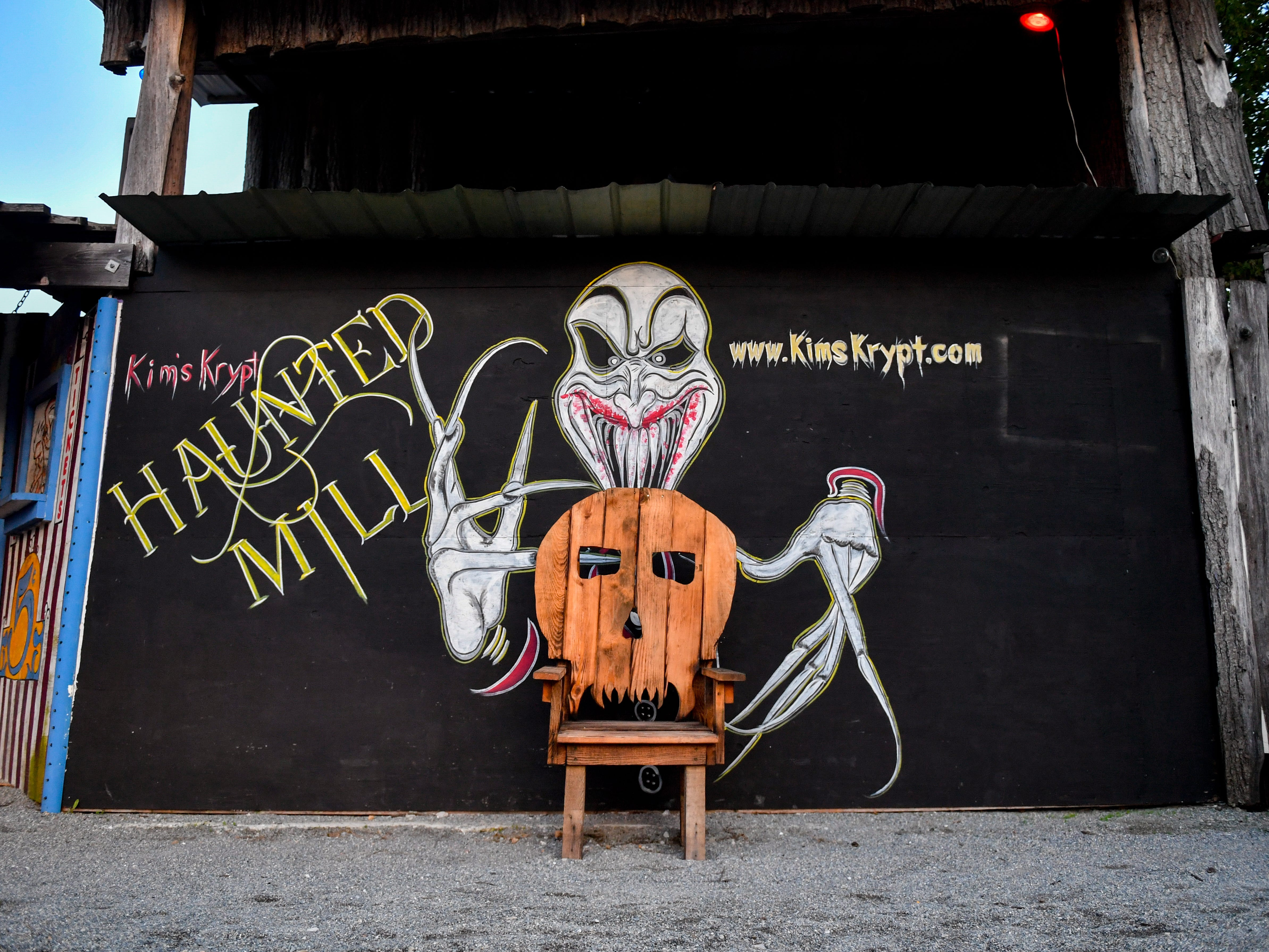 This is a popular place to take photos at Kim's Krypt Haunted Mill, October 12, 2018.