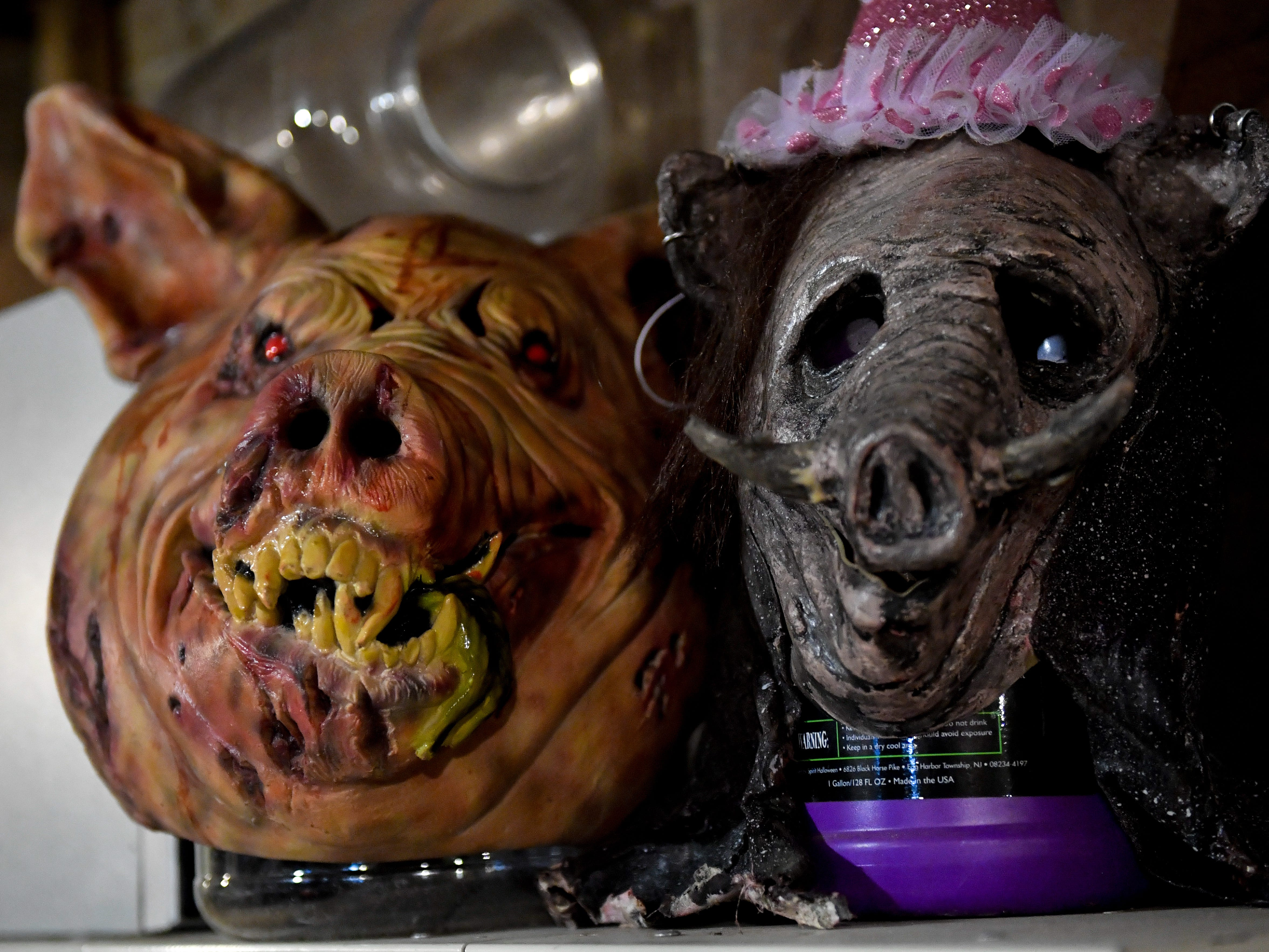 Masks sit on display around Kim's Krypt Haunted Mill, October 12, 2018.