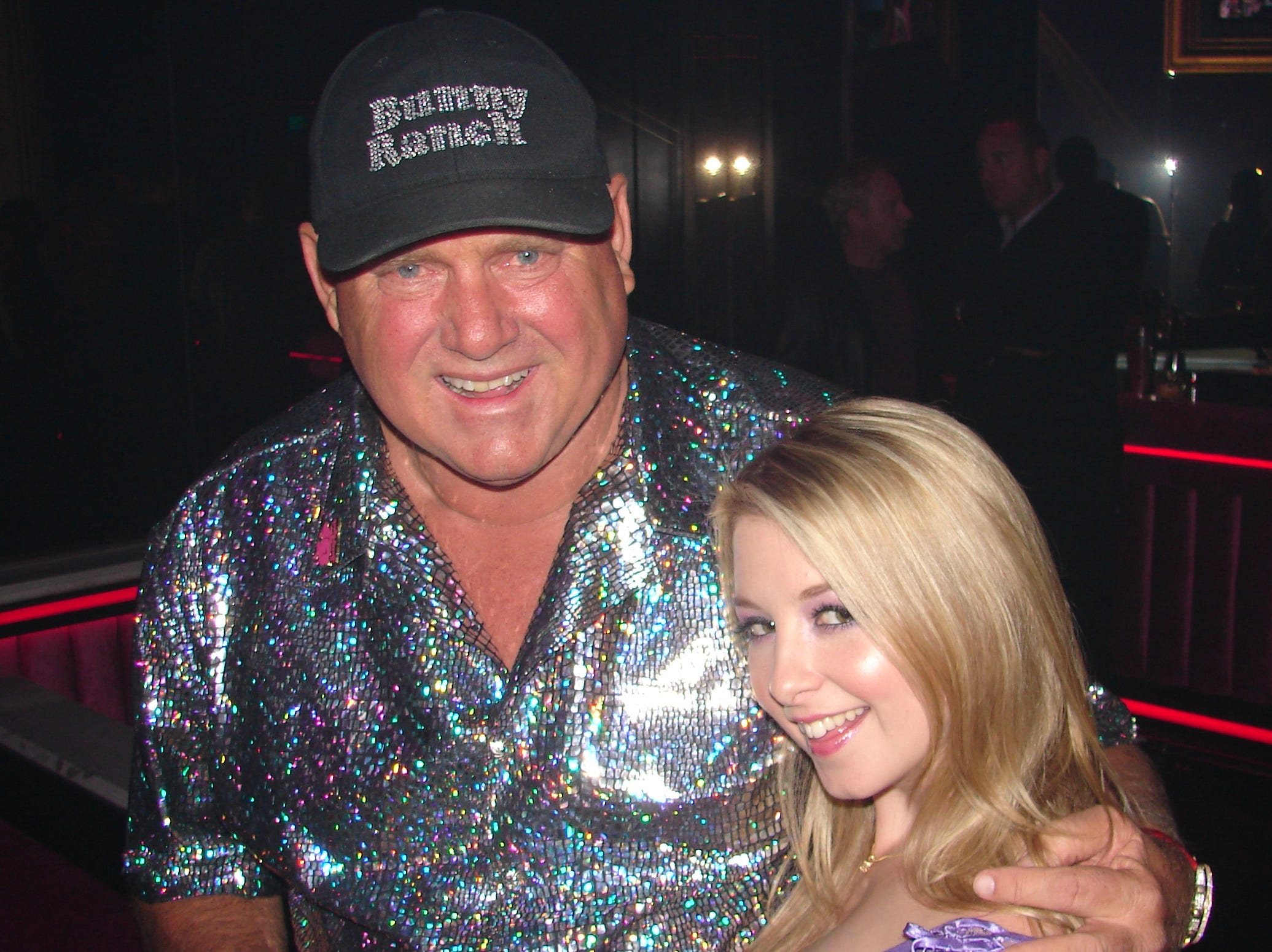 Dennis Hof of the Bunny Ranch and Sunny Lane at the opening of Edge.