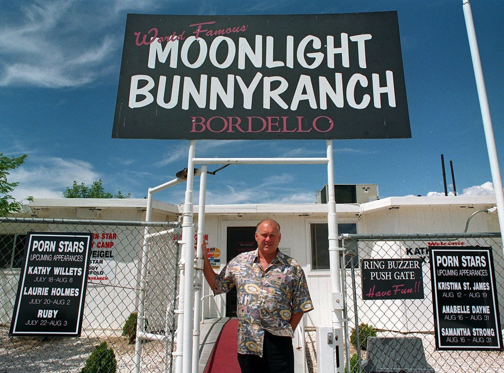 Owner Dennis Hof stands in front of the Moonlite BunnyRanch in 1999. Lyon County Commissioners voted to draft language to place an advisory question on the November ballot that will give voters the option to rescind the county?s brothel ordinance.  RGJ file File photo: Owner Dennis Hof stands in front of the Moonlite BunnyRanch in 1999.