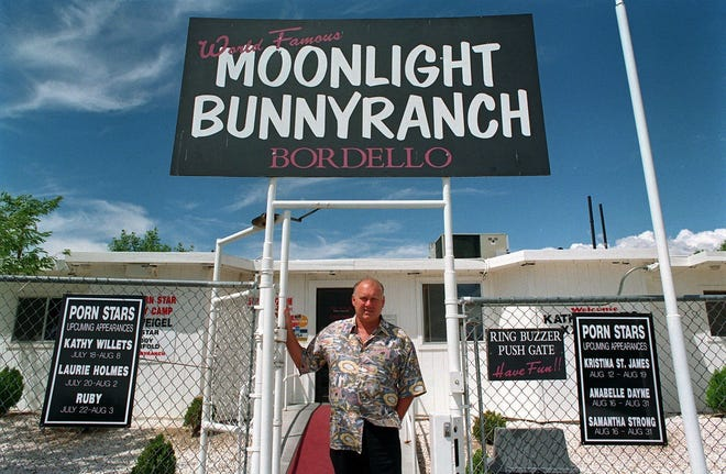 The late Dennis Hof stands in front of the Moonlite Bunny Ranch in 1999. Lyon County voters shot down an advisory question guiding commissioners to rescind the county's brothel ordinance.
