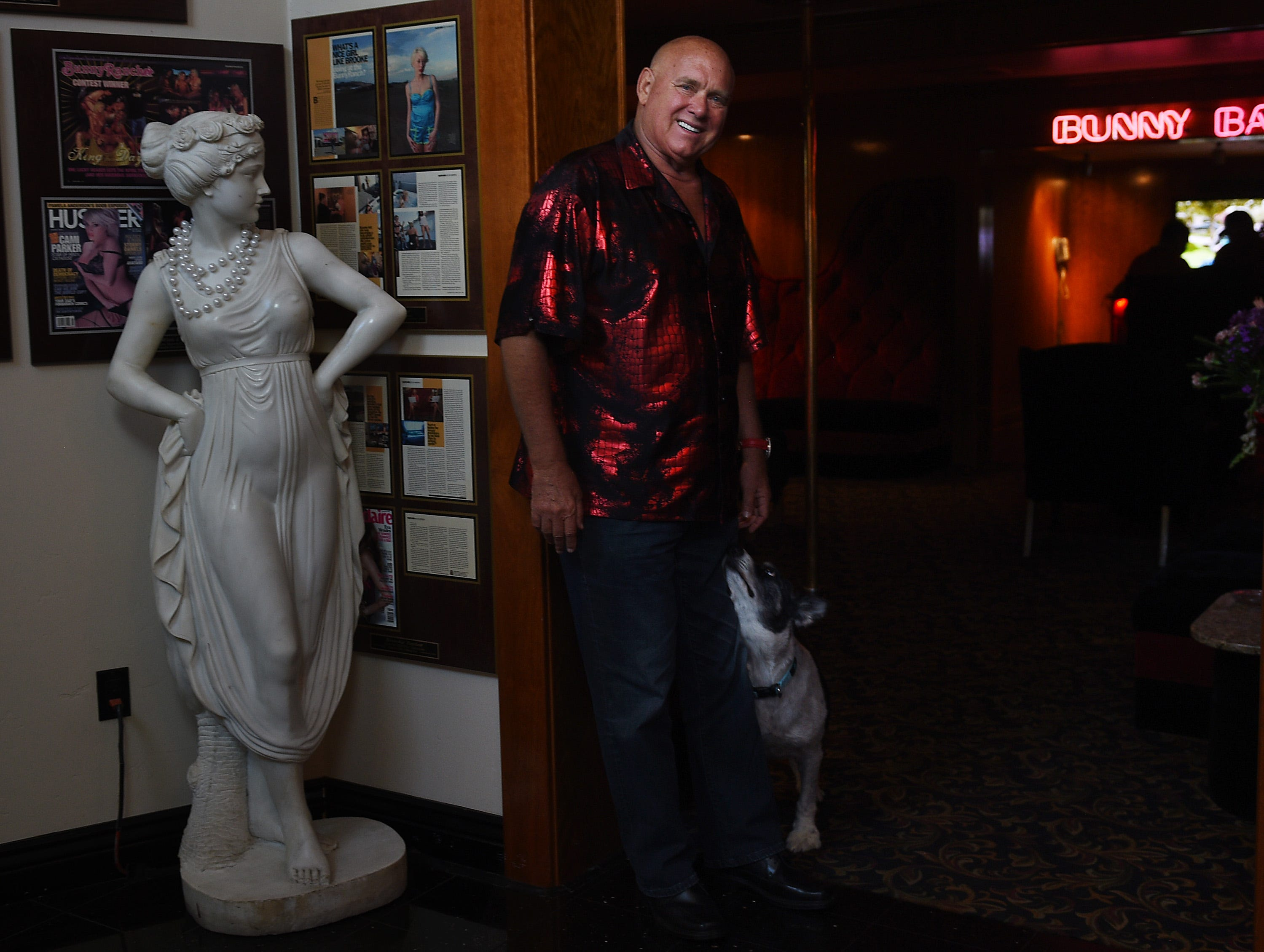 Below:  Dennis Hof, GOP state Assembly candidate, poses at his World Famous Bunny Ranch brothel near Carson City in 2015.  Jason Bean/RGJ file Brothel owner and Nevada businessman Dennis Hof poses for a portrait  at his World Famous Bunny Ranch near Carson City on July 22, 2015. Hof is considering a run for the U.S. Senate.