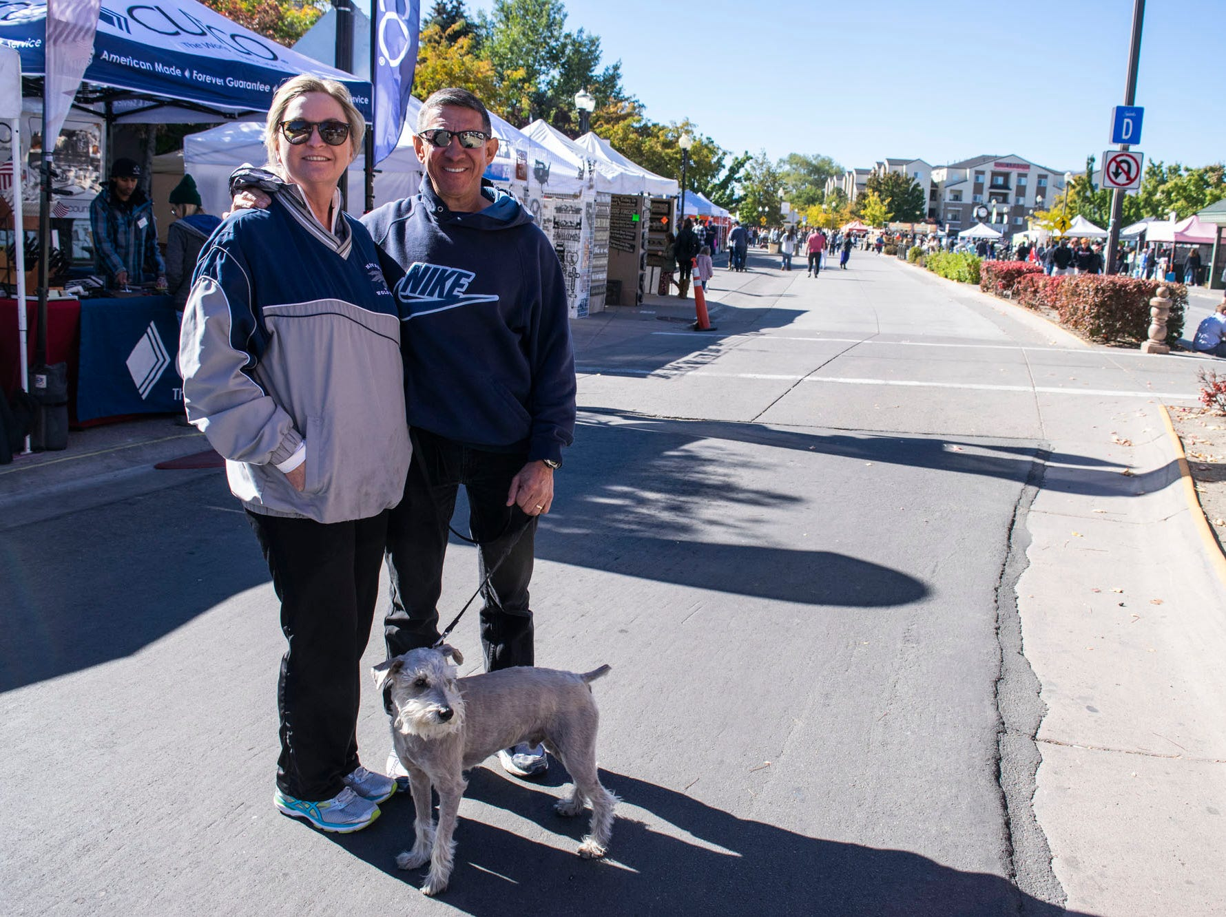 Gordon Gagnon, his dog Joe, and a friend attend the Nugget's Southern Fare on the Square on Sunday, Oct. 14, 2018. Sparks, Nev.
