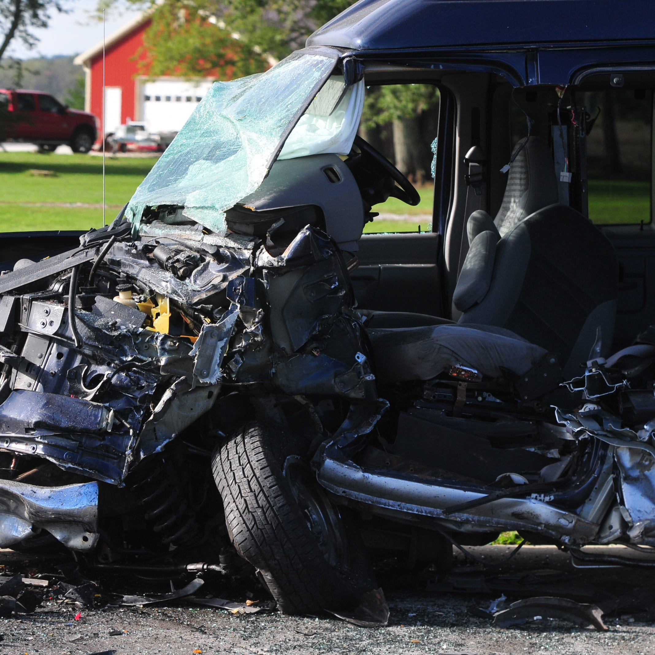 Teresa McNew, the driver of a Ford E-150 van, was extricated from the van by Richmond Fire Department personnel after a Tuesday morning accident on Salisbury Road.