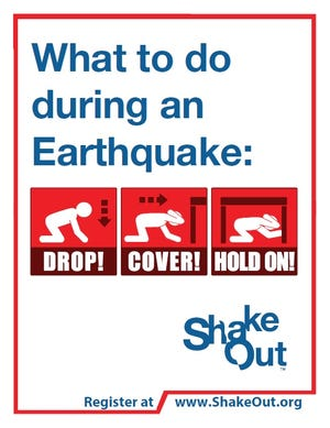 In the event of an earthquake, individuals are urged to follow the Drop, Cover and Hold On protocol.