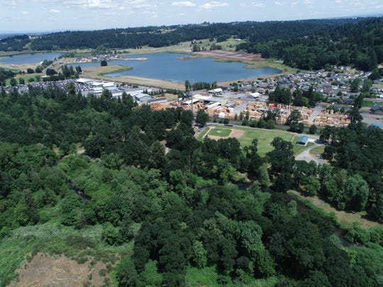 An aerial photo of Turner Lake and where the new park will be located.