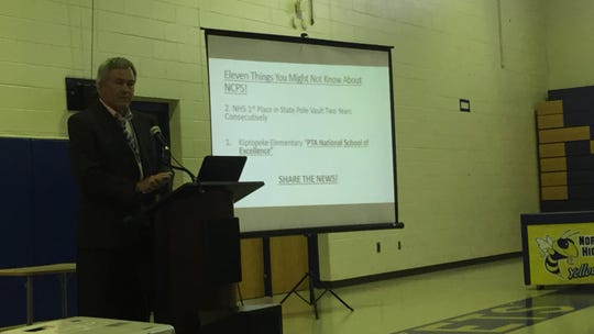 Eddie Lawrence, Northampton County Public School Superintendent, speaks at the 2nd annual State of the Schools forum in Eastville, Virginia on Tuesday, Oct. 16, 2018.