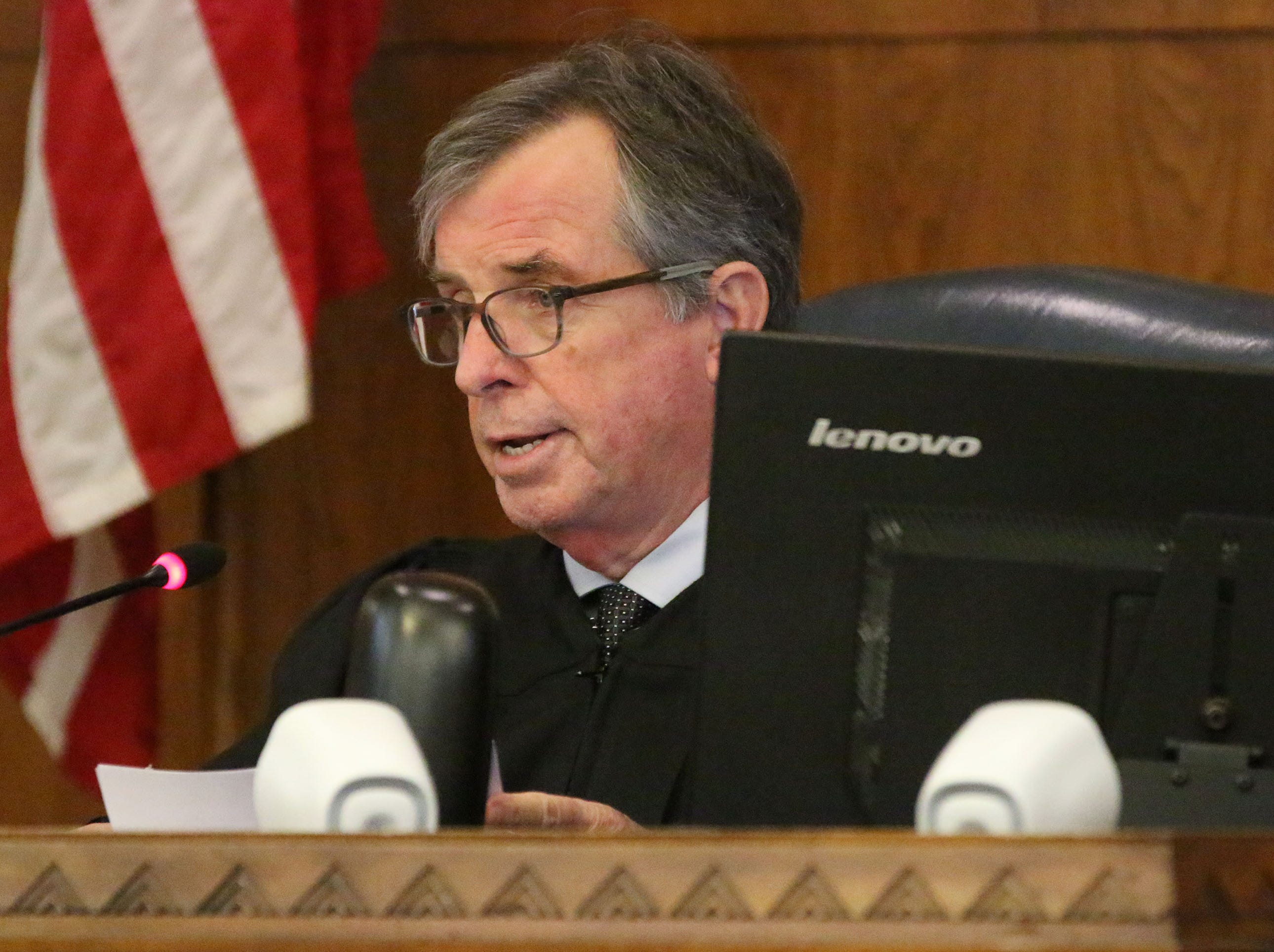 Judge L. Edward Stengel speaks during the sentencing hearing for Breanna Mikula in Sheboygan County Circuit Court Branch 1, Tuesday, October 16, 2018, in Sheboygan, Wis.