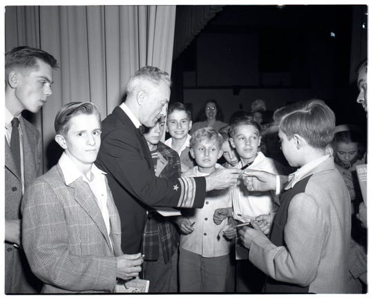 Admiral Richard E. Byrd, explorer, gave a talk titled 'The 1946-47 Naval Antarctic Expedition' at Recreation Hall in Kohler in October 1947 during the early years of the Kohler Woman's Club Distinguished Guest Series.