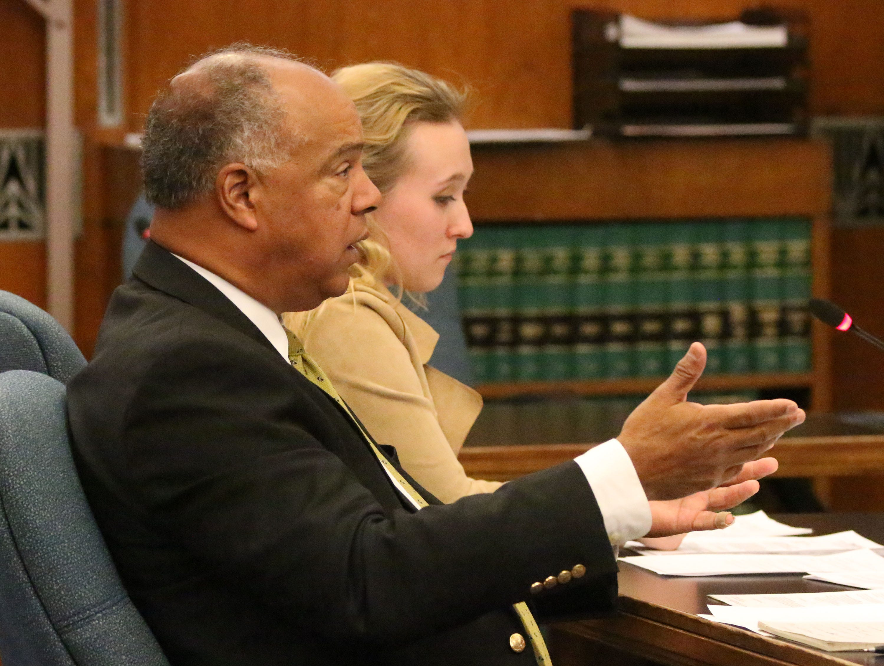 Defense Atty. Gary George, left, speaks on behalf of Breanna Mikula and her involvement in the Kinship Companions kennel case in Sheboygan County Circuit Court Branch 1, Tuesday, October 16, 2018, in Sheboygan, Wis.