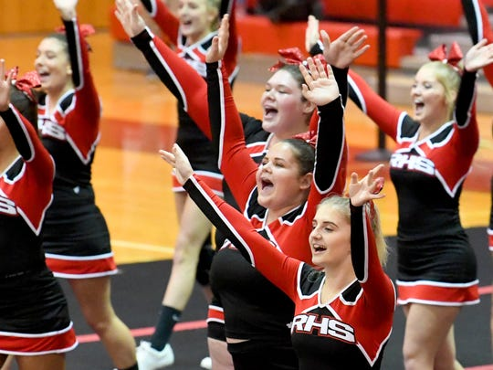 Riverheads competition cheer team competes in the Shenandoah District Cheer Championships held in Elkton on Monday, Oct. 15, 2018.