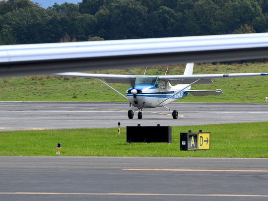 An airplane taxis in from the runway at Shenandoah Valley Regional Airport on Tuesday, Oct. 16, 2018.