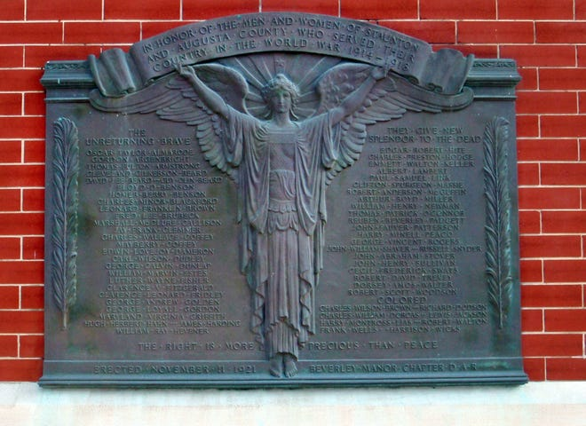 This plaque on the Augusta County Courthouse, honoring the area's WWI war dead, was dedicated on Armistice Day in 1921.