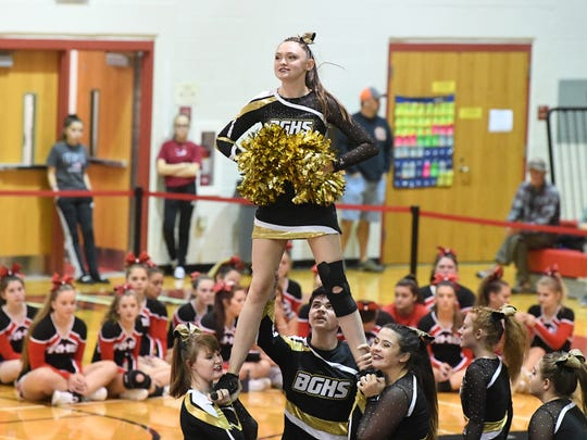 Buffalo Gap competition cheer team competes in the Shenandoah District Cheer Championships held in Elkton on Monday, Oct. 15, 2018.