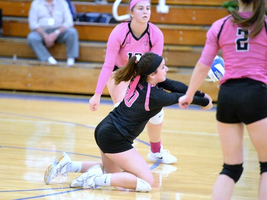 Makayla Frazier gets a dig Monday night in a Shenandoah District volleyball match against Lee HIgh.