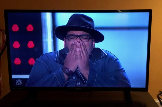 "Fishersville singer Matt Johnson, the last to audition on season 15 of ""The Voice"" on Monday night, Oct. 15, 2018, when he realizes he made it on Team JHUD."