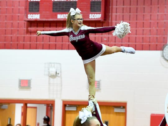 Stuarts Draft competition cheer team competes in the Shenandoah District Cheer Championships held in Elkton on Monday, Oct. 15, 2018.