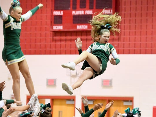 Wilson Memorial competition cheer team competes in the Shenandoah District Cheer Championships held in Elkton on Monday, Oct. 15, 2018.