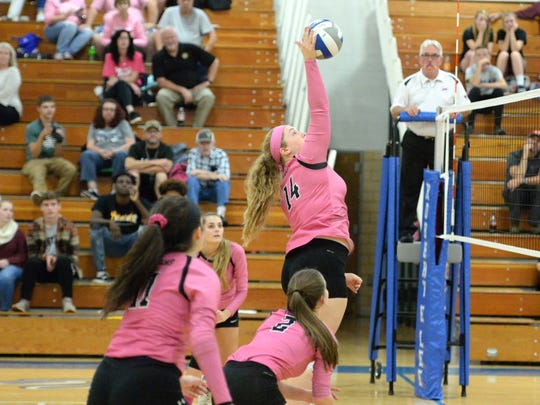 Alexis Bridge (14) is one of seven seniors on the Stuarts Draft volleyball team this season.