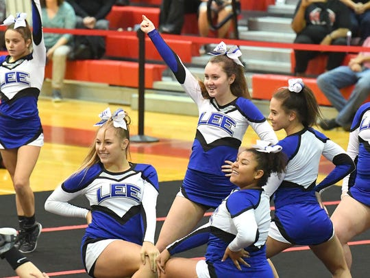 Robert E. Lee competition cheer team competes in the Shenandoah District Cheer Championships held in Elkton on Monday, Oct. 15, 2018.