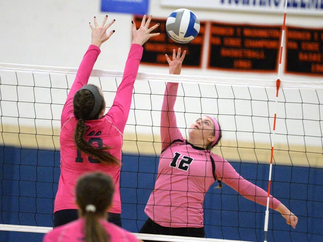 Stuarts Draft's Makaila Napier stretches for a ball during Monday night's volleyball match with Lee High.