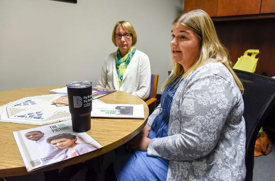 Jackie Johnson, executive director, and Shannon Harter, grant and communications manager, talk about the new branding and strategy Wednesday, Oct. 10, at Big Brothers Big Sisters of Central Minnesota.