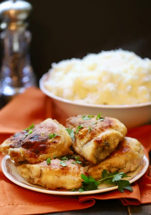 Serve Southern Crispy Oven-Fried Chicken with a side of mashed potatoes.