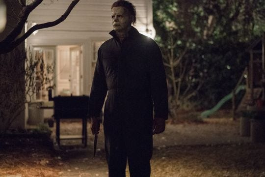 """James Jude Courtney plays the escaped killer in """"Halloween"""" (2018), opening Friday."""