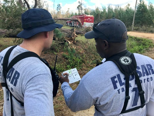 Capt. Mike Bellamy, left, and Battalion Chief Jarvis Bedford of Florida Urban Search and Rescue Task Force 7, discuss search efforts Tuesday in Sneads.