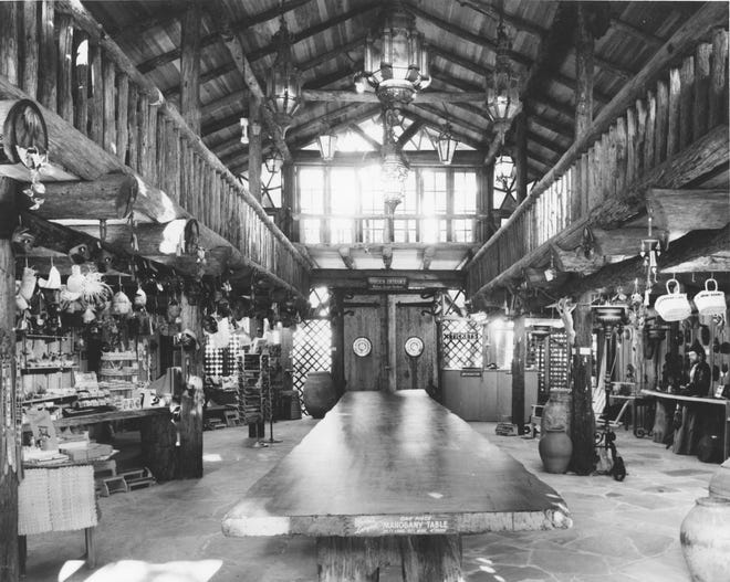 Waldo Sexton's contributions to historic McKee Jungle Gardens on South U.S. 1 include the Hall of Giants and Spanish Kitchen. The Hall of Giants is a two-story meeting hall built in Sexton's trademark rough-hewn timber, including a 35-foot-long single piece of Philippine mahogany used for a meeting table.