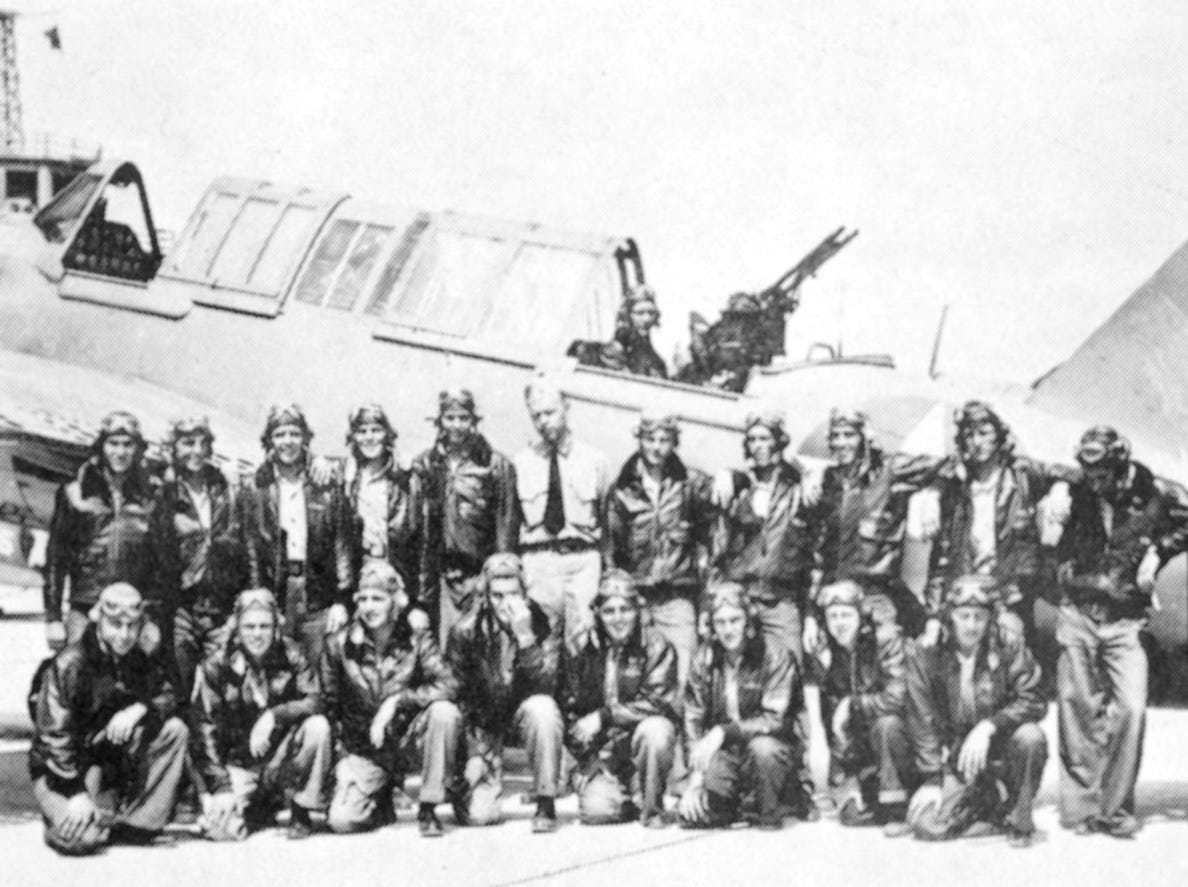 """Florida's Historic Indian River County,"" by Charlotte Lockwood, 1976. U.S. Navy flight crew. Flight crew members pose in front of a Navy plane June 4, 1943, at the Vero Beach Air Station."