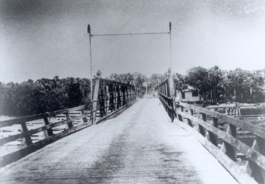 The Winter Beach Bridge is seen in this photo taken in the early 1930s. The view is looking east toward John's Island. The bridge tender's house can be seen on the right side. The bridge was built in 1924 to span the Indian River at Winter Beach, which had only recently changed its name from Quay.