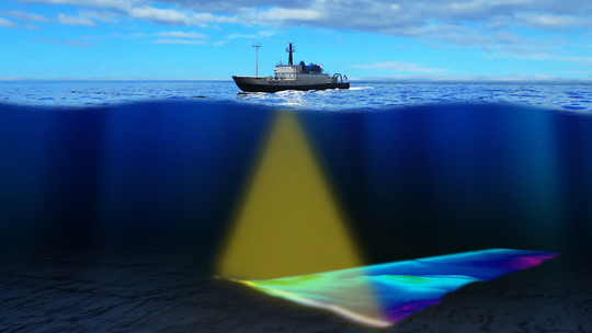 In this illustration, the E/V Nautilus creates maps of the seafloor by utilizing a multibeam sonar system. This can create remarkably detailed maps at the ship's top speed of 12 knots.