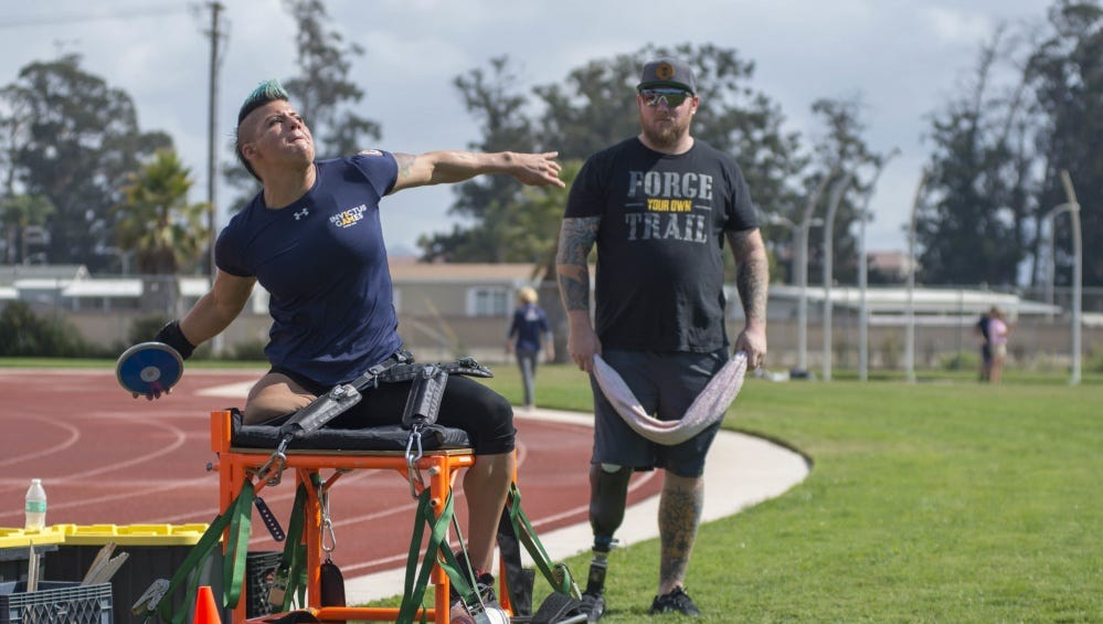 Sebastiana Lopez, representing the U.S. Air Force, throws a discus during track and field practice at Oxnard College for the 2018 Invictus Games being held Oct. 20-27 in Sydney, Australia.