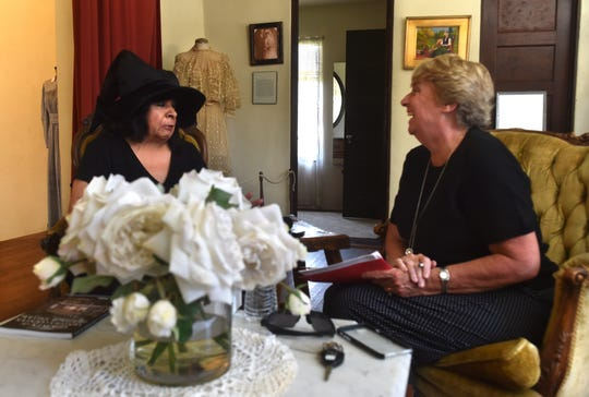 Andrea Howry, right, host of the 'Never 30' podcast, interviews author Evie Ybarra for the recent episode on ghost stories in Ventura County during a visit to Rancho Camulos.