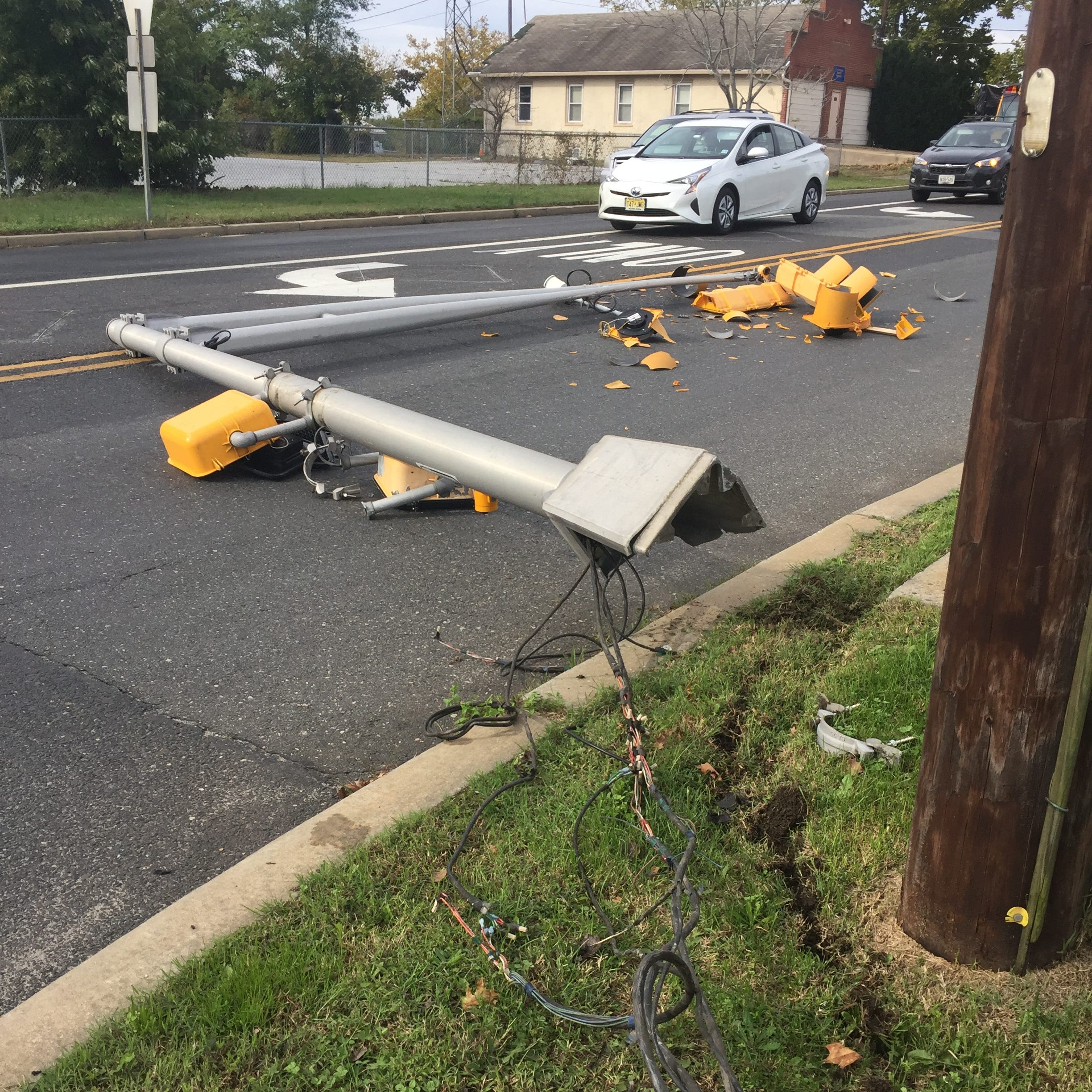 Vineland Police investigate downed light standard
