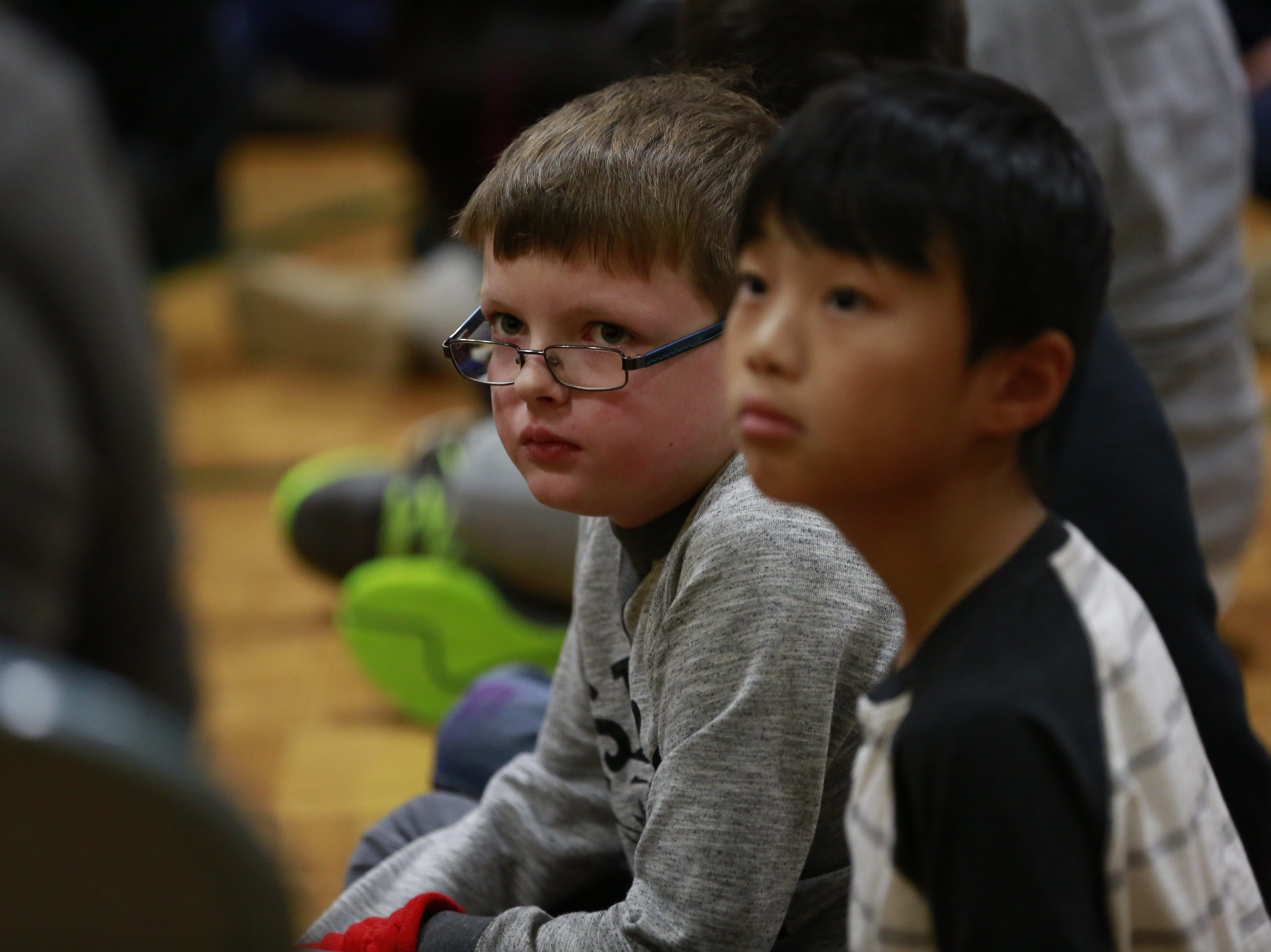 Students listen to former MSU basketball player Anthony Ianni talks about bullying Monday, Oct. 15, 2018, during the Anti-Bullying Relentless Tour to Visit Wisconsin at Weston Elementary School in Weston, Wis.