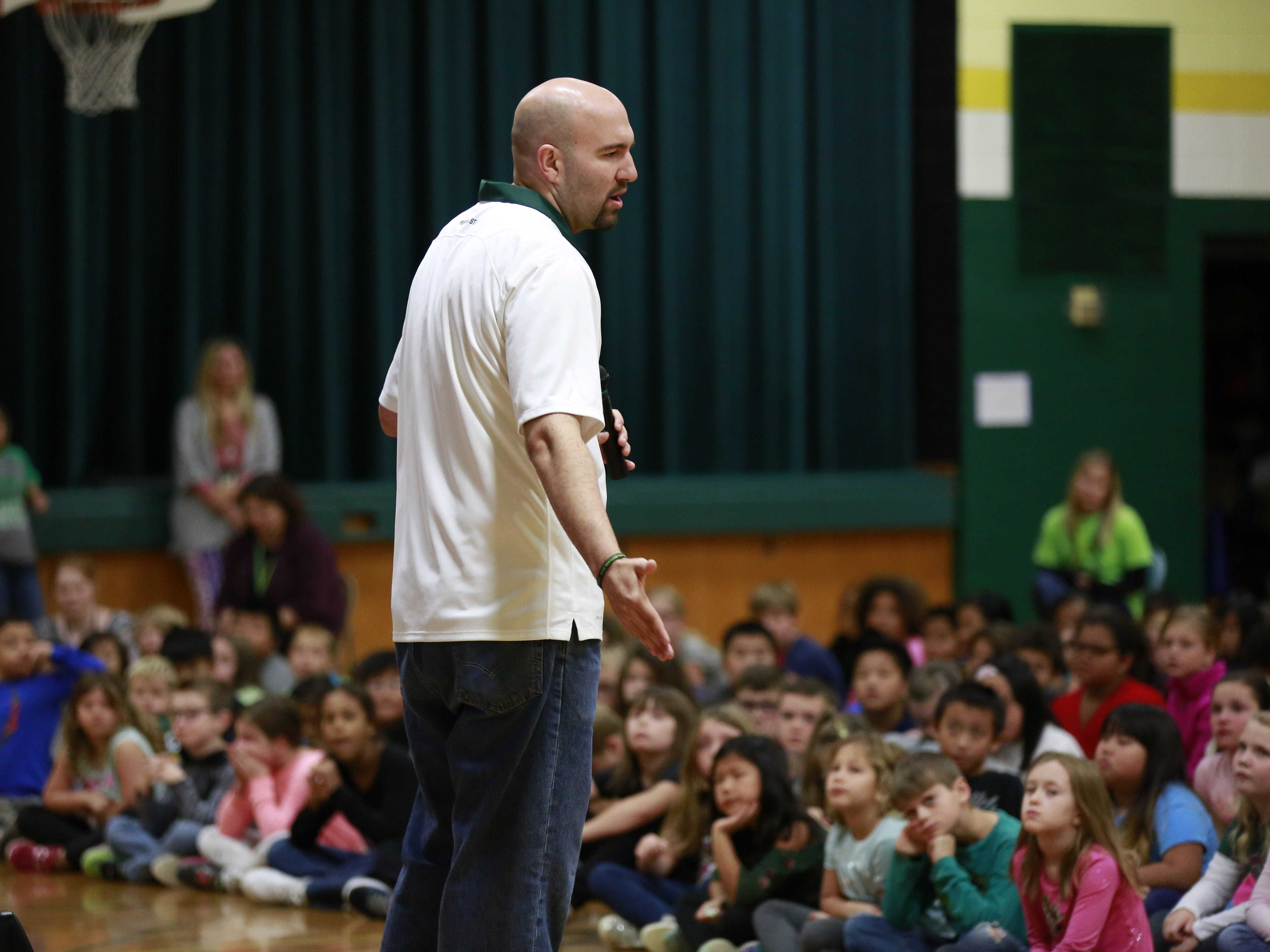 Former MSU basketball player Anthony Ianni speaks to students about bullying Monday, Oct. 15, 2018, as part of the Anti-Bullying Relentless Tour to Visit Wisconsin at Weston Elementary School in Weston, Wis.